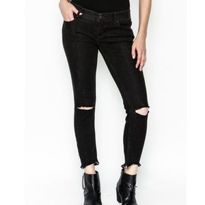 Free People Knee Rip Distressed Skinny Jeans